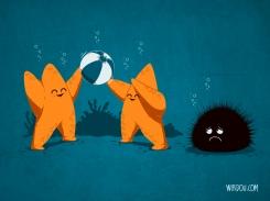 fun, funny, t-shirt, gracioso, divertido, camiseta, echinoderms, equinodermos, seastar, sea urchin, estrella de mar, erizo de mar, playing, jugando