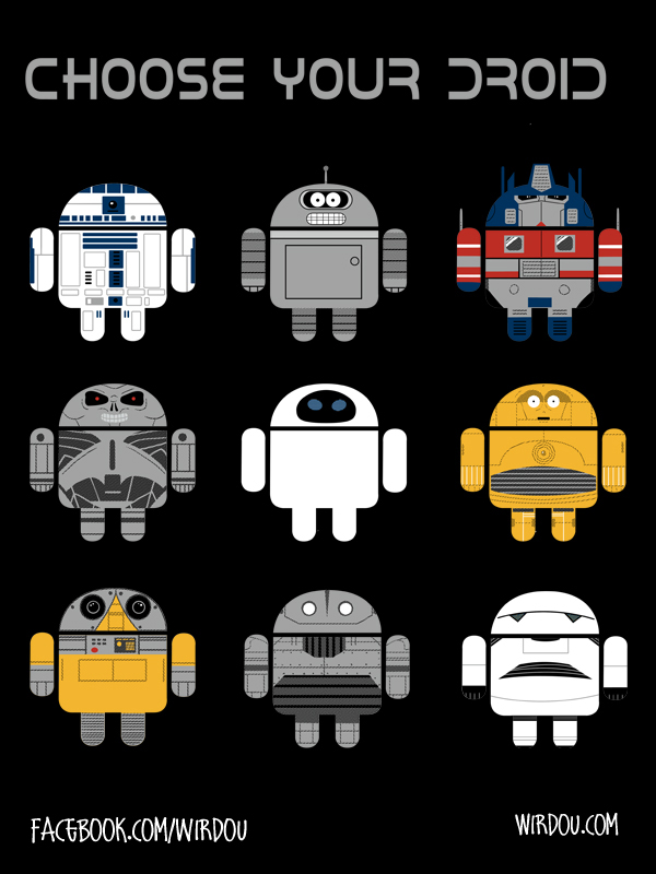 fun, funny, t-shirt, divertido, gracioso, camiseta, droid, androide, r2d2, bender, c3po, terminator, optimus prime, eve, wall-e, marvin, mashup