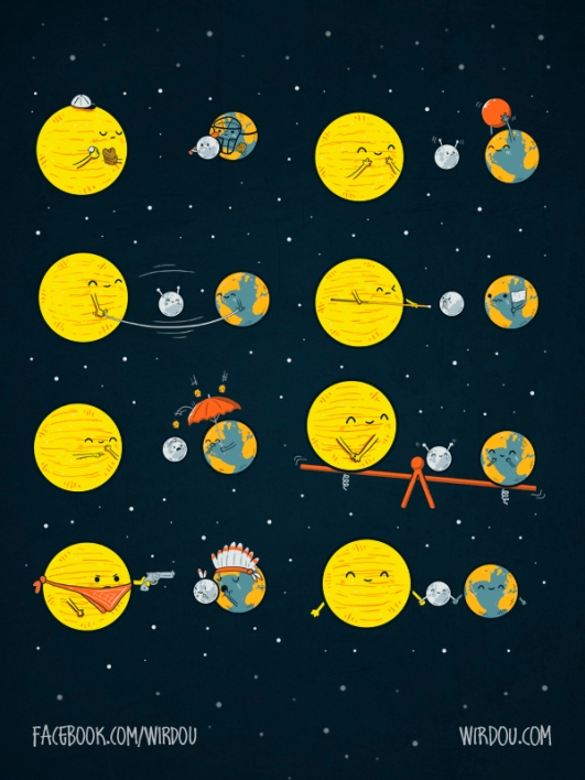 science, fun, funny, curious, desig, drawing, illustration, scientist, chemistry, biology, cute, ciencia, espacio, space, sun, sol, earth, tierra, moon, luna, gracioso, curioso, eclipse