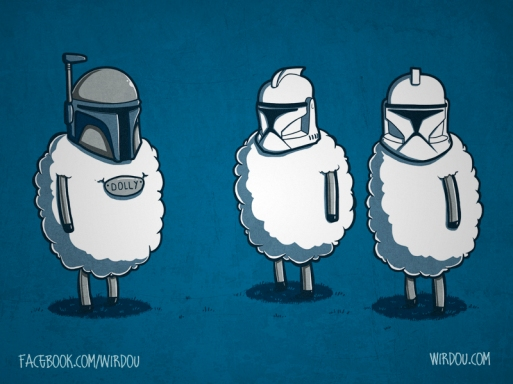 science, fun, funny, curious, desig, drawing, illustration, scientist, chemistry, biology, cute, ciencia, divertido, star wars, dolly, clonación, cloning