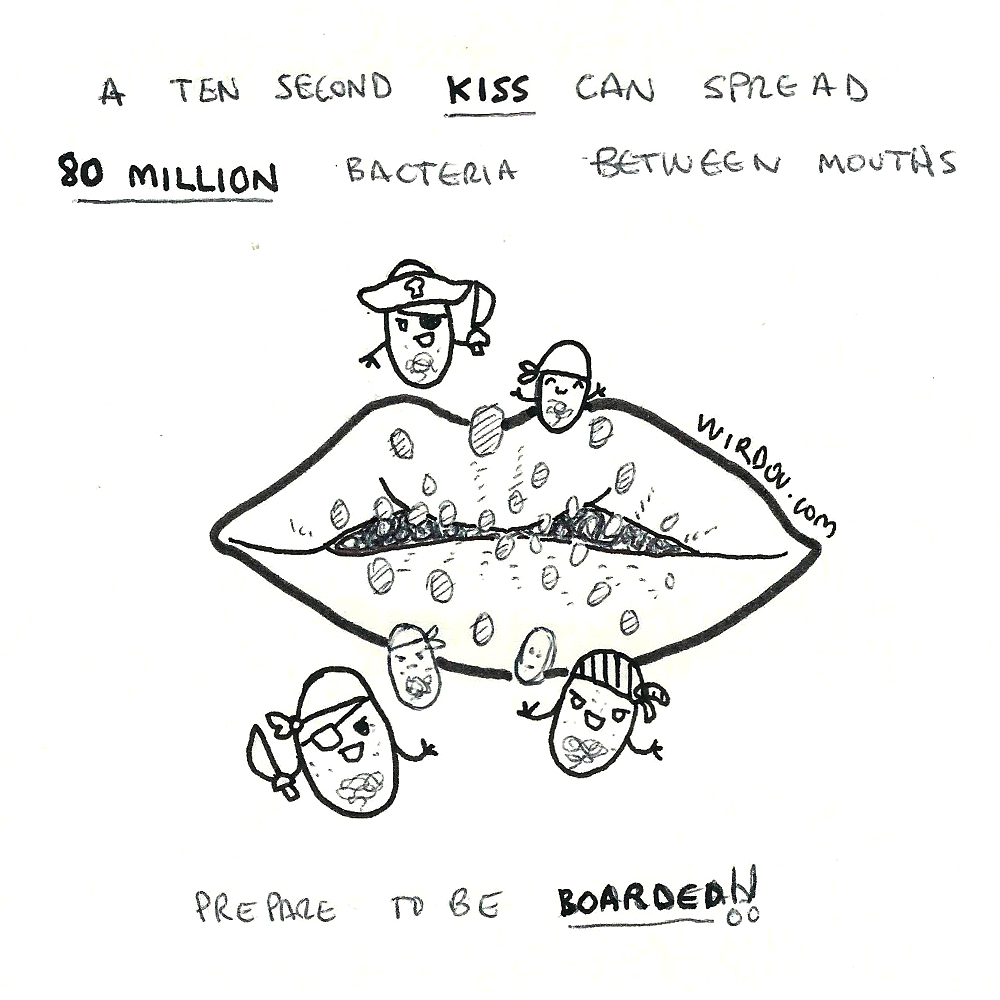 science, curious, curiosity, fun, funny, humor, kiss, bacteria, million, microbiology