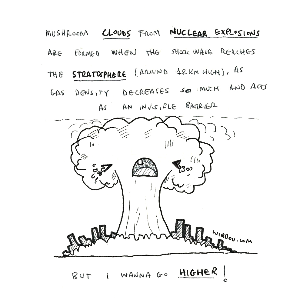 science, curious, curiosity, fun, funny, humor, nuclear, explosion, mushroom, cloud, atmosphere, stratosphere