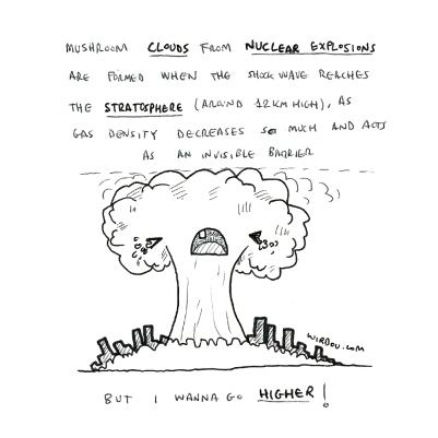 science, curious, curiosity, fun, funny, humor, nuclear, explosion, mushroom, cloud, atmosphere, stratosphere