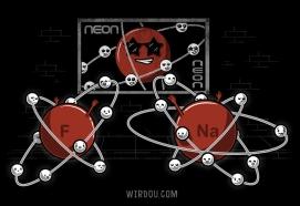 ciencia, humor, divertido, gracioso, science, fun, funny, átomo, atom, orbit, órbita, electron, gas noble, neón