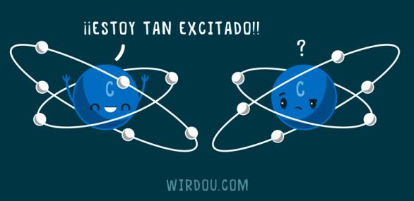 ciencia, humor, divertido, gracioso, átomo, excitado, electrón, física, química
