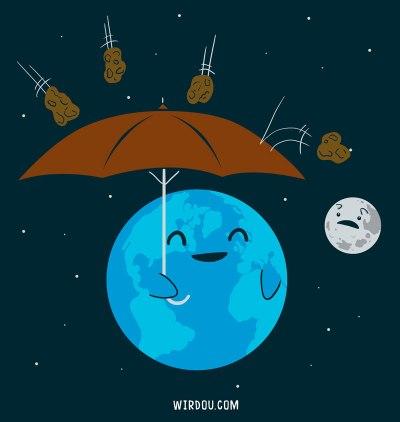 ciencia, humor, divertido, gracioso, science, fun, funny, meteorite, meteorito, lluvia, shower, rain, luna, tierra, moon, earth, cute