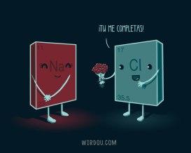 ciencia, humor, divertido, gracioso, enlace, atomos, molécula, sodio, cloro, sal, amor