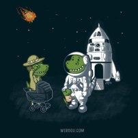 ciencia, humor, divertido, gracioso, science, fun, funny, dinosaurio, dinosaur, meteorite, cute, meteorite, t rex,
