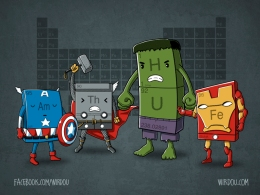 science, fun, funny, scientist, curiosity, curious, chemistry, biology, cute, design, illustration, drawing, ciencia, divertido, curioso, vengadores, avengers, hulk, thor, captain america, capitán américa, iron man, periodic table,. tabla periódica