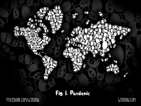 science, fun, funny, scientist, curiosity, curious, chemistry, biology, cute, design, illustration, drawing, infectious, disease, panda, world, epidemic